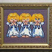 Картины ручной работы. Ярмарка Мастеров - ручная работа Картина вязанная из пряжи Ангелочки размер в раме 54 х 64. Handmade.