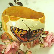 Украшения handmade. Livemaster - original item Bracelet wood wide decoration Butterfly decoupage. Handmade.