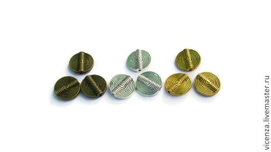 """Плоская бусина разделитель """"Спираль"""" 10 мм\r\nЦвет: античное серебро, античное золото, античная бронза. Для украшений. Рукоделкино."""