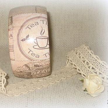 Украшения ручной работы. Ярмарка Мастеров - ручная работа Бежевый женский деревянный браслет Чайный. Эко рустик лен хюгге чай. Handmade.