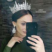 Диадемы ручной работы. Ярмарка Мастеров - ручная работа Свадебный комплект, корона и серьги ручной работы. Handmade.