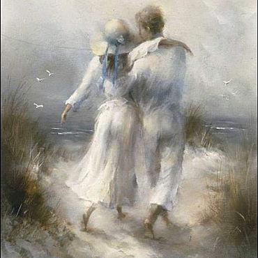 Картины и панно ручной работы. Ярмарка Мастеров - ручная работа Картина: Пара на берегу. Handmade.