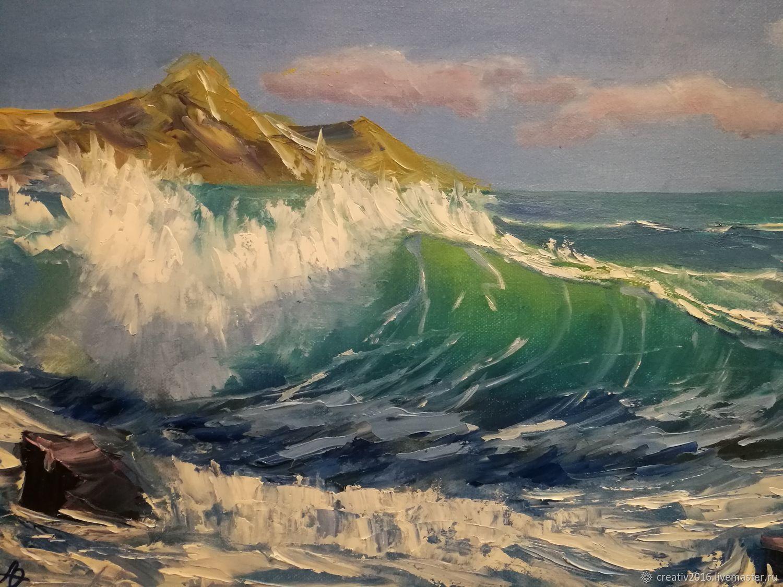 Картина море маслом фото