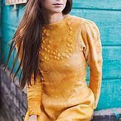 """Одежда ручной работы. Ярмарка Мастеров - ручная работа Валяное платье с рукавом """"Golden Mustаrd"""". Handmade."""