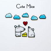 Подарки на 14 февраля ручной работы. Ярмарка Мастеров - ручная работа Подарок на День святого Валентина (магниты из стекла) Cute Mice  #102. Handmade.