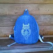 Сумки и аксессуары handmade. Livemaster - original item Backpack denim female Owl. Handmade.