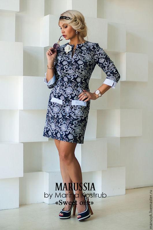 Платья ручной работы. Ярмарка Мастеров - ручная работа. Купить Платье НВ-15. Handmade. Тёмно-синий, платье офисное
