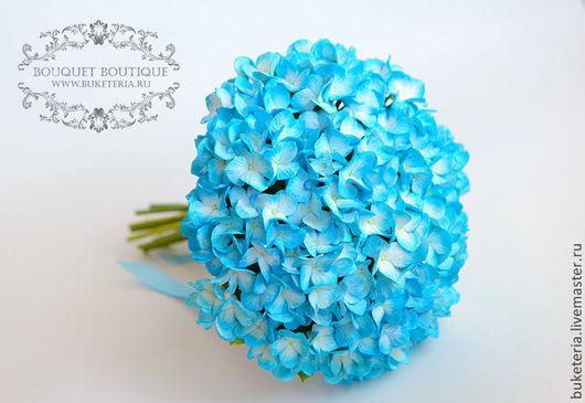 Букеты ручной работы. Ярмарка Мастеров - ручная работа. Купить Букет невесты с голубой гортензей из полимерной глины. Handmade.