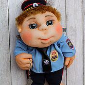 Мягкие игрушки ручной работы. Ярмарка Мастеров - ручная работа Кукла Попик Полицейский мужчина - кукла на удачу. Полковник генерал. Handmade.