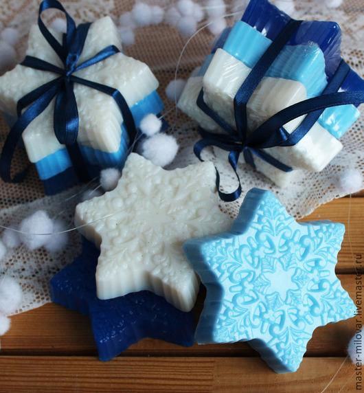 Мыло ручной работы. Ярмарка Мастеров - ручная работа. Купить Снежинки - подарочный набор мыла ручной работы арт.b003056. Handmade.