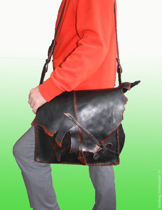 Мужские сумки ручной работы. Ярмарка Мастеров - ручная работа. Купить Черная дикая. Handmade. Сумка ручной работы, кожа