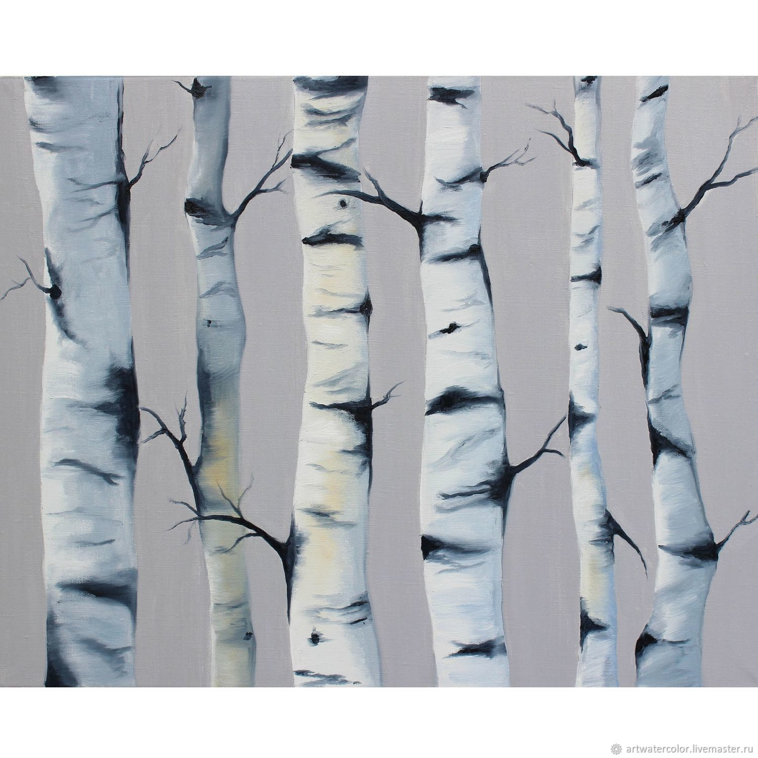 Abstract oil painting birch grove, Pictures, Moscow,  Фото №1