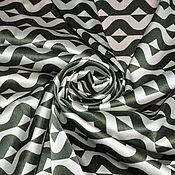 Ткани ручной работы. Ярмарка Мастеров - ручная работа Атласный шелк зигзаги. Handmade.