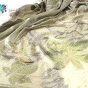 """Аксессуары ручной работы. Ярмарка Мастеров - ручная работа Большой платок """"Каштаны"""" - шелк, экопринт. Handmade."""