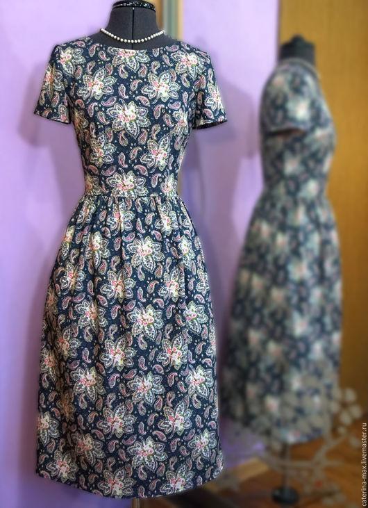 Платья ручной работы. Ярмарка Мастеров - ручная работа. Купить Платье с коротким рукавом и карманами. Handmade. Разноцветный, купить платье