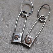 Украшения handmade. Livemaster - original item Pin brooch earrings, silver and gold. Handmade.