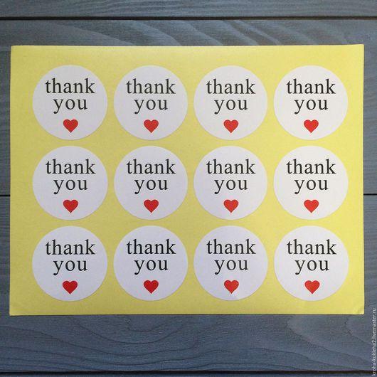 """Упаковка ручной работы. Ярмарка Мастеров - ручная работа. Купить Бумажный стикер """"Thank you с сердечком"""". Handmade. Стикер, стикеры"""