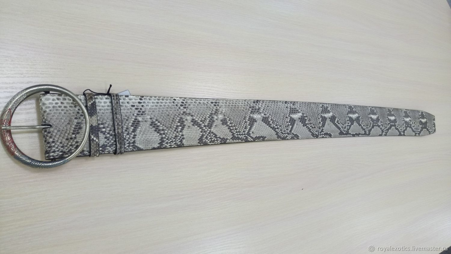 Wide women's belt, Python leather natural color, Straps, Tosno,  Фото №1