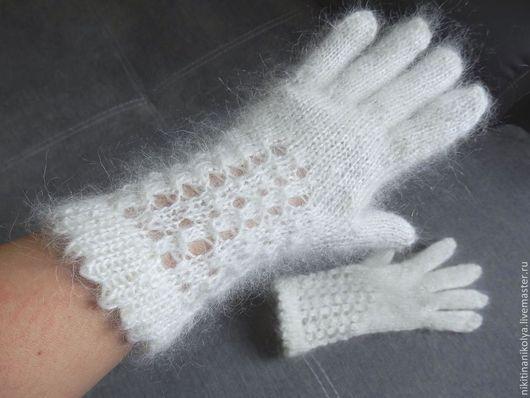 Варежки, митенки, перчатки ручной работы. Ярмарка Мастеров - ручная работа. Купить Пуховые перчатки. Handmade. Белый, пух