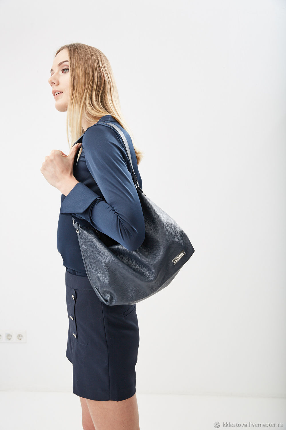 Blue soft shoulder strap Bag with inner pocket, Sacks, Moscow,  Фото №1
