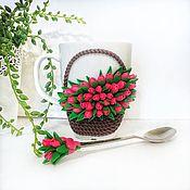 Mugs handmade. Livemaster - original item Delicious Mug with flowers made of polymer clay Basket of tulips bouquet. Handmade.
