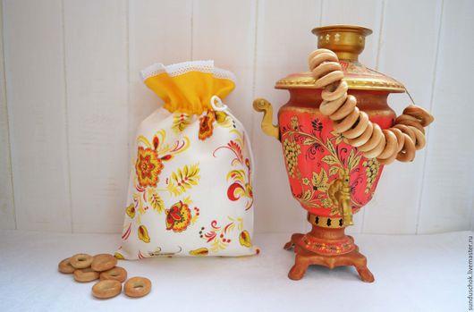"""Кухня ручной работы. Ярмарка Мастеров - ручная работа. Купить Льняной мешочек для хлеба """"Хохлома"""". Handmade. Мешочек для хлеба, Пасха"""
