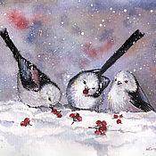 Картины и панно ручной работы. Ярмарка Мастеров - ручная работа Птички (в багете). Handmade.
