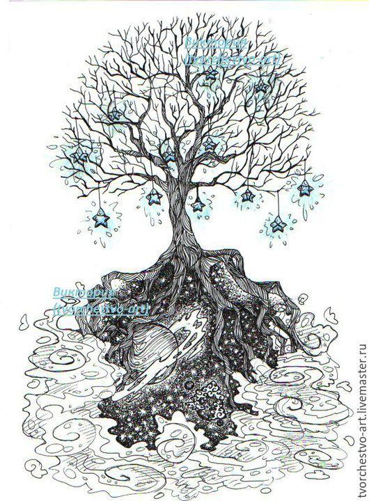 """Фантазийные сюжеты ручной работы. Ярмарка Мастеров - ручная работа. Купить Рисунок  """"Дерево/космос"""" ( Принт для футболки, подушки). Handmade."""