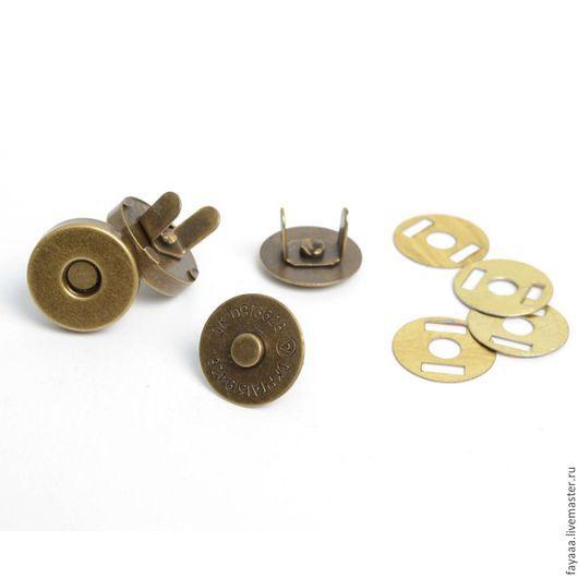 Шитье ручной работы. Ярмарка Мастеров - ручная работа. Купить Магнитная кнопка (замок, застежка)  бронза 14мм. Handmade. Рыжий