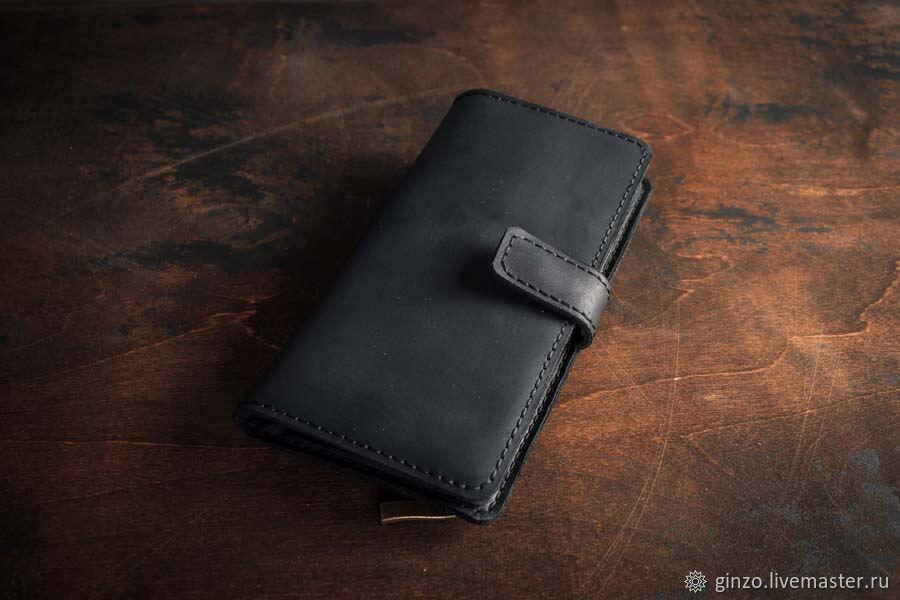 Большой вертикальный портмоне -HUGO- цвет Черный уголь, Кошельки, Тула,  Фото №1