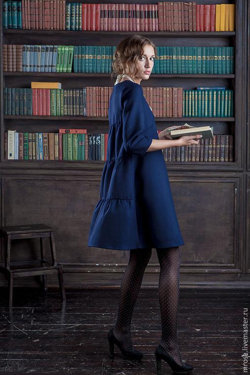 """Платья ручной работы. Ярмарка Мастеров - ручная работа. Купить Платье из шерсти """"Кити"""". Handmade. Тёмно-синий, ретро, шерсть"""