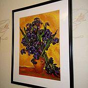 Картины и панно ручной работы. Ярмарка Мастеров - ручная работа Картина вышитая крестом Ирисы Ван Гог. Handmade.
