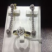 Jewelry Sets handmade. Livemaster - original item Diamond Person. Gold earrings and ring with diamonds. Handmade.