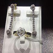 Украшения handmade. Livemaster - original item Diamond Person. Gold earrings and ring with diamonds. Handmade.