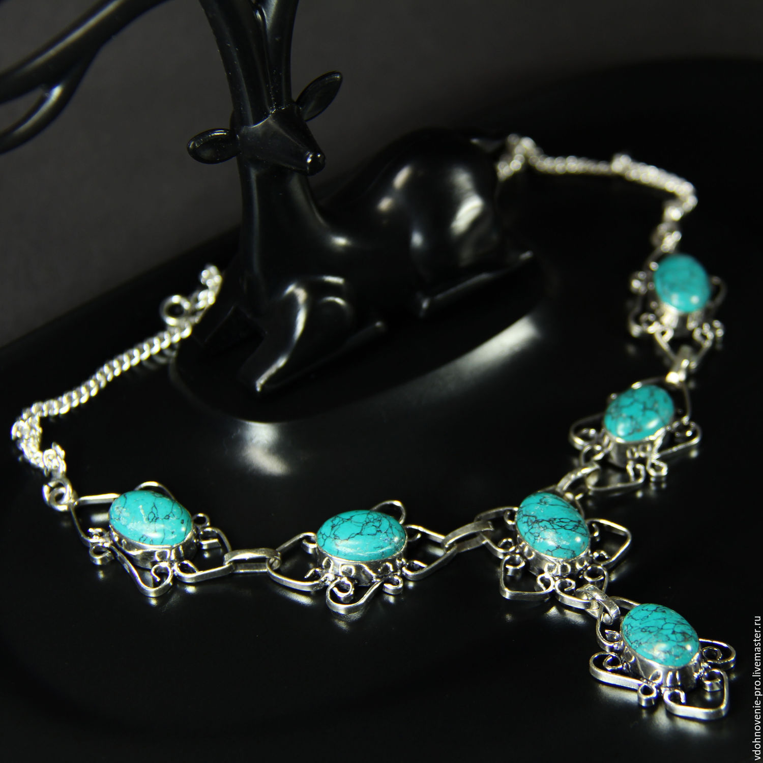 Necklace with turquoise Turkmenistan 'Turquoise', Necklace, Yaroslavl, Фото №1