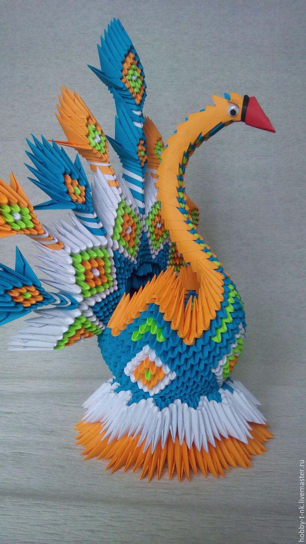 Модульное оригами лебедь схема сборки двойного лебедя