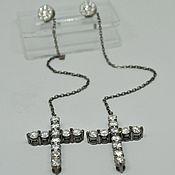 "Украшения handmade. Livemaster - original item Earrings ""Crosses"" in white gold with diamonds with black rhodium. Handmade."