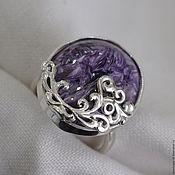 Украшения handmade. Livemaster - original item Ring with charoite Patterned. Handmade.