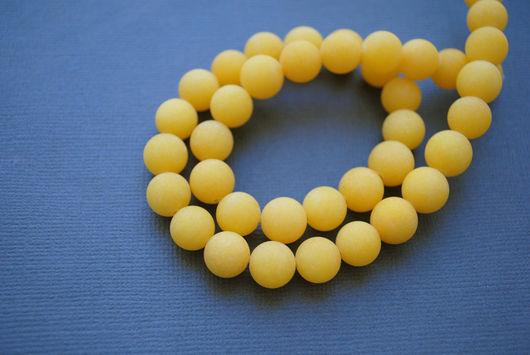 Агат желтый матовый, гладкий шар 9 мм.