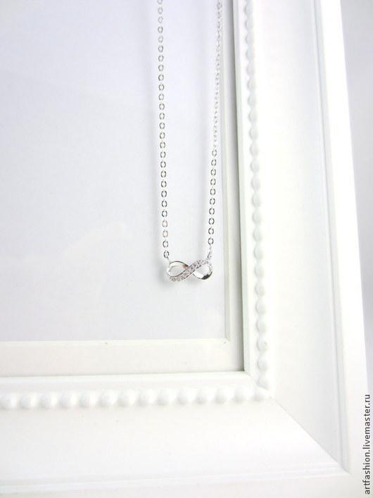 Кулон серебряный от Марии Гербст Сияющая вечность. Кулон из серебра на цепочке Сияющая вечность. Серебряный кулон Сияющая вечность с инкрустацией фианитами.