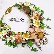 Украшения handmade. Livemaster - original item Necklace with flowers made of polymer clay and the strings