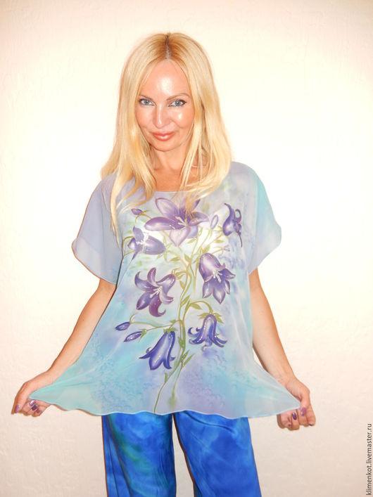 Блузки ручной работы. Ярмарка Мастеров - ручная работа. Купить блуза - Колокольчики. Handmade. Голубой, блузка, море, красивая одежда
