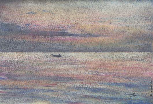 """Пейзаж ручной работы. Ярмарка Мастеров - ручная работа. Купить картина пастелью """"Перед восходом"""". Handmade. Море, средиземноморье"""