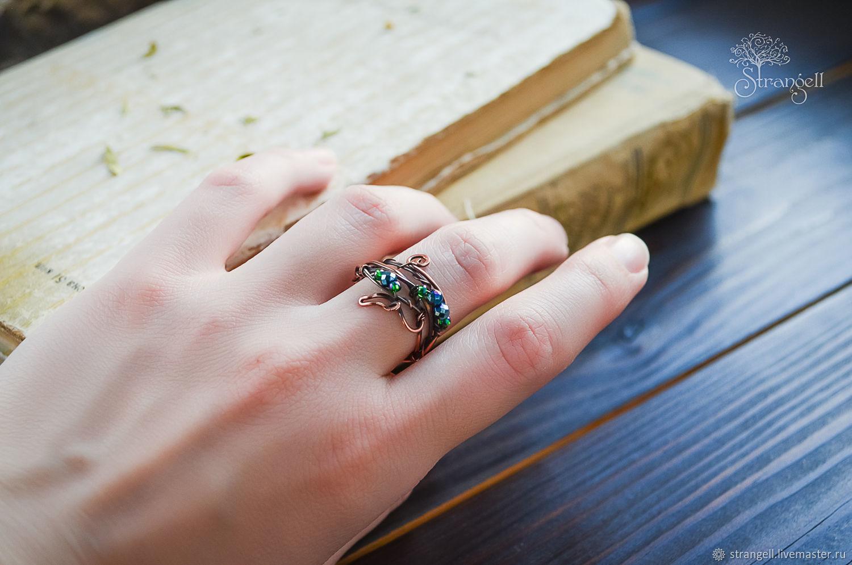 Anillo de cobre con hematita verde elfo anillo Ramitas Naturaleza, Rings, Ulan-Ude,  Фото №1
