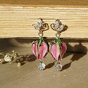 """Украшения ручной работы. Ярмарка Мастеров - ручная работа """"Утро в розовом саду"""" серьги бутоны лэмпворк. Handmade."""