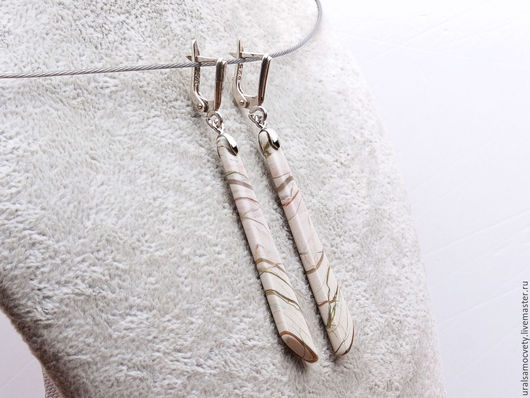 Серьги ручной работы. Ярмарка Мастеров - ручная работа. Купить Длинные серьги яшма серебро 925. Handmade. Серебро