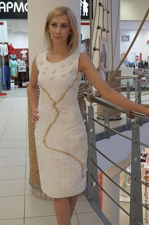 """Платья ручной работы. Ярмарка Мастеров - ручная работа. Купить валяное платье """"экко стиль"""". Скидка 35%. Handmade. Белый"""