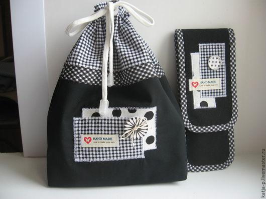 Органайзеры для сумок ручной работы. Ярмарка Мастеров - ручная работа. Купить Дорожный комплект для рукоделия. Handmade. Чёрно-белый