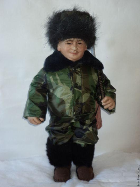 Коллекционные куклы ручной работы. Ярмарка Мастеров - ручная работа. Купить охотник. Handmade. Зеленый, юбилей, ручная работа, рыбак