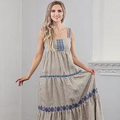 Одежда handmade. Livemaster - original item Linen sundress Young lady-peasant. Handmade.